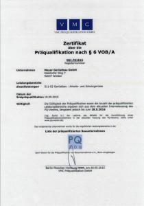 Zertifkat Präqualifikation